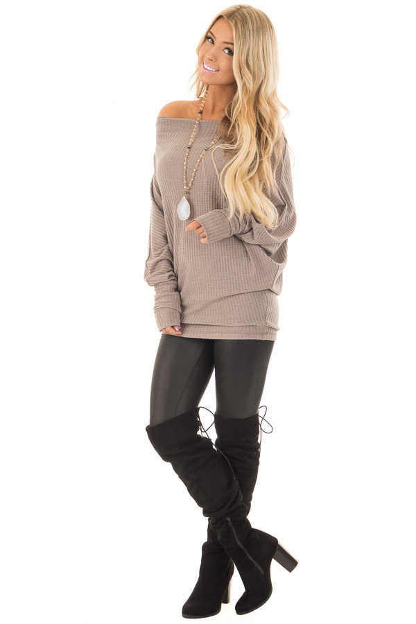 Coco Oversized Off the Shoulder Waffle Knit Top front full body