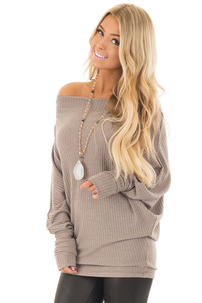 Coco Oversized Off the Shoulder Waffle Knit Top front close up