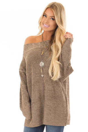 Mocha Long Sleeve Off the Shoulder Sweater front close up