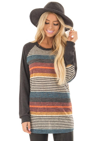 Multicolor Striped Top with Charcoal Raglan Sleeves front close up