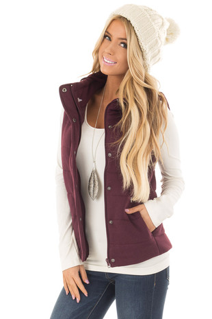 Deep Burgundy Hidden Zipper Vest with Side Pockets front close up