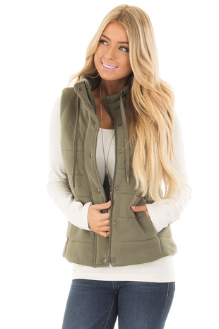 Olive Hidden Zipper Vest with Side Pockets front close up