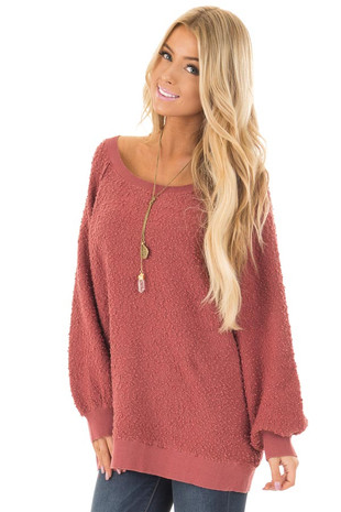 Rust Textured Oversized Sweater with Bubble Sleeves front close up