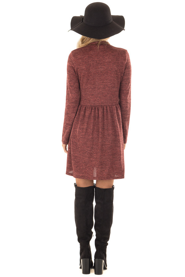 Brick Long Sleeve Dress with Mock Neckline back full body
