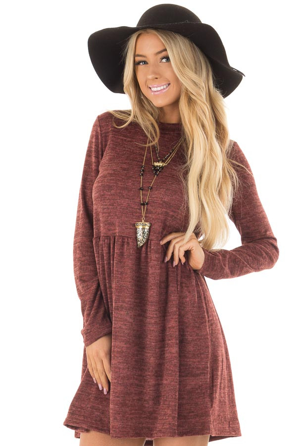 Brick Long Sleeve Dress with Mock Neckline front close up