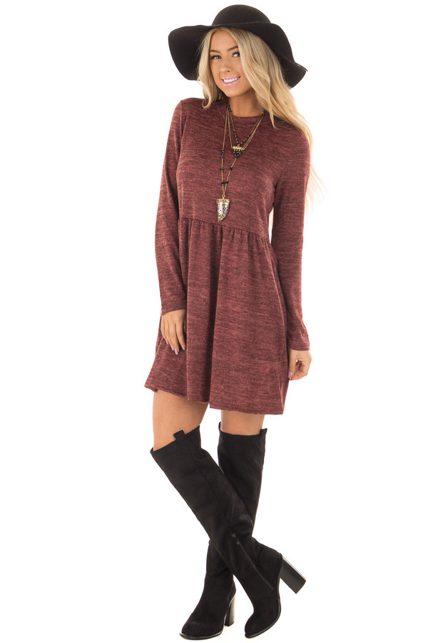 Brick Long Sleeve Dress with Mock Neckline front full body