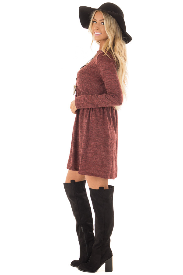 Brick Long Sleeve Dress with Mock Neckline side full body