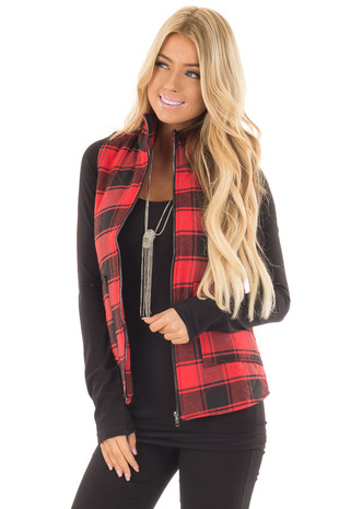 Red and Black Buffalo Plaid Vest with Pockets front close up