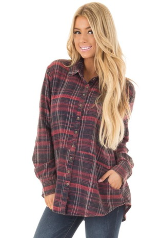 Navy and Red Plaid Button Up Top with Pockets front close up