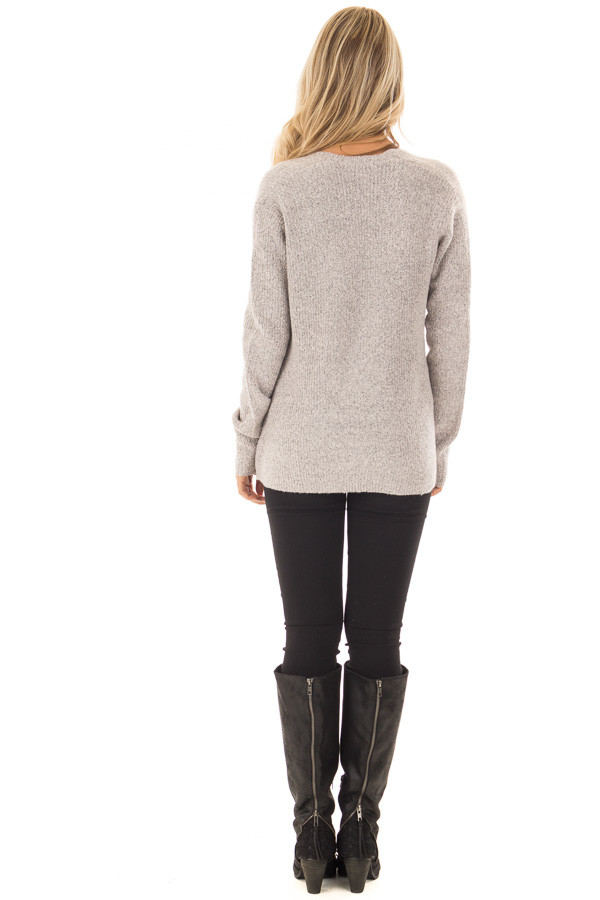 Blush Two Tone Crossover Drape Long Sleeve Sweater back full body