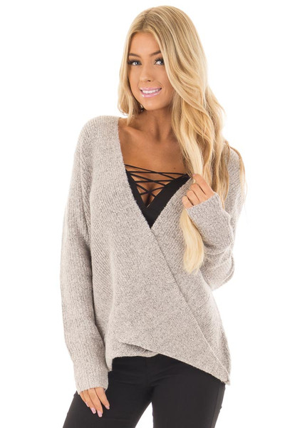 Blush Two Tone Crossover Drape Long Sleeve Sweater front close up