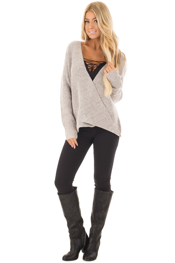 Blush Two Tone Crossover Drape Long Sleeve Sweater front full body