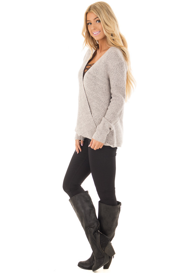 Blush Two Tone Crossover Drape Long Sleeve Sweater side full body