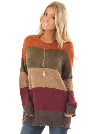 Multi Color Striped Long Sleeve Sweater front close up