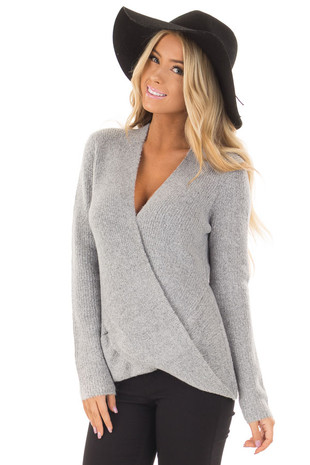 Heather Grey Two Tone Crossover Drape Long Sleeve Sweater front close up