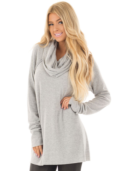 Heather Grey Super Soft Cowl Neck Sweater front close up