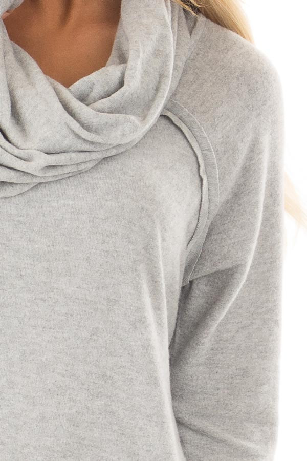 Heather Grey Super Soft Cowl Neck Sweater detail