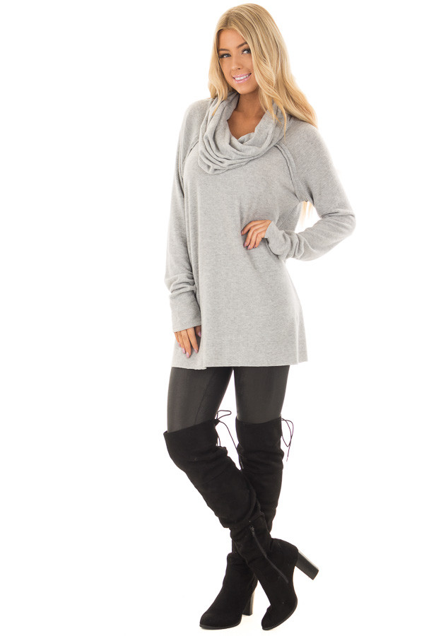 Heather Grey Super Soft Cowl Neck Sweater front full body