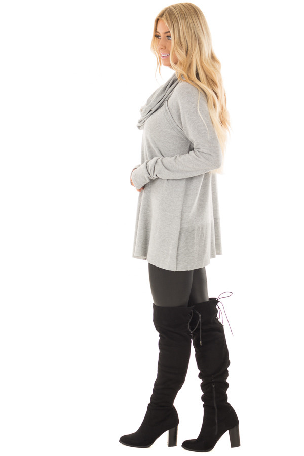 Heather Grey Super Soft Cowl Neck Sweater side full body