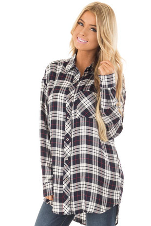 Navy and White Plaid Button Down Tunic front close up