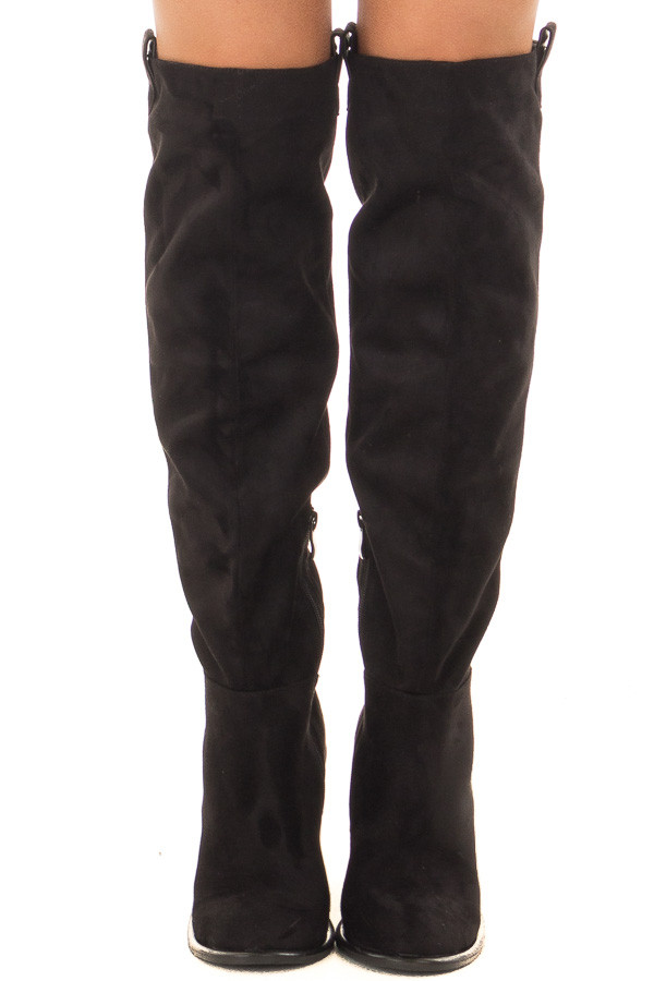 Black Faux Suede Tall Heeled Boot with Pull On Tab Detail front view