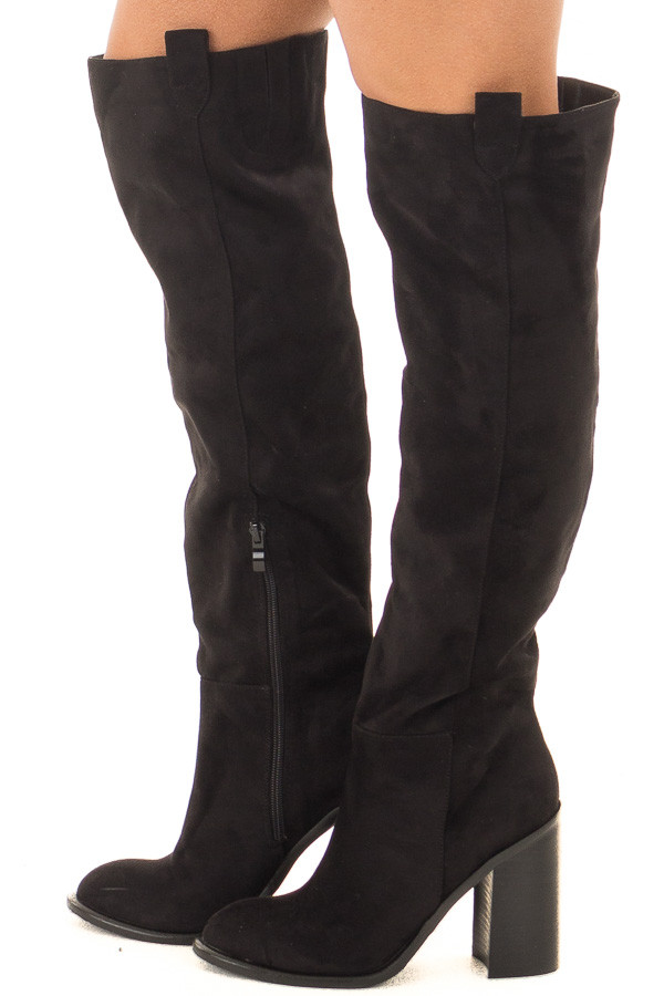 Black Faux Suede Tall Heeled Boot with Pull On Tab Detail side view