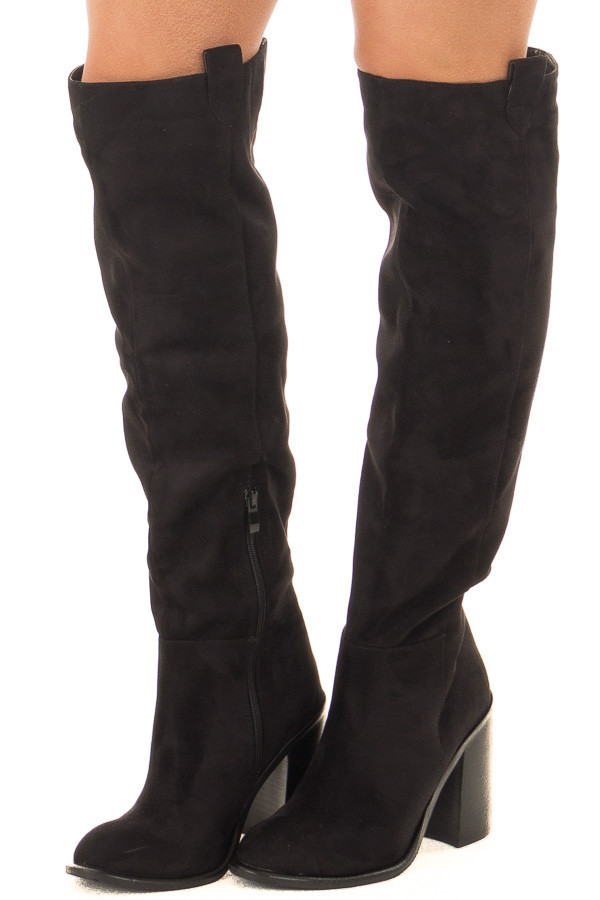 Black Faux Suede Tall Heeled Boot with Pull On Tab Detail front side view