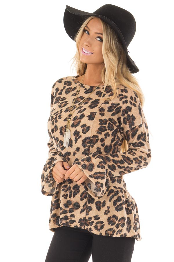 Taupe Leopard Print Bell Sleeve Top with Hip Flare front close up