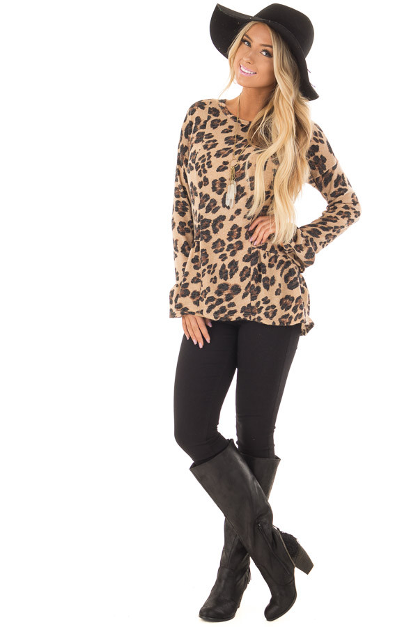Taupe Leopard Print Bell Sleeve Top with Hip Flare front full body