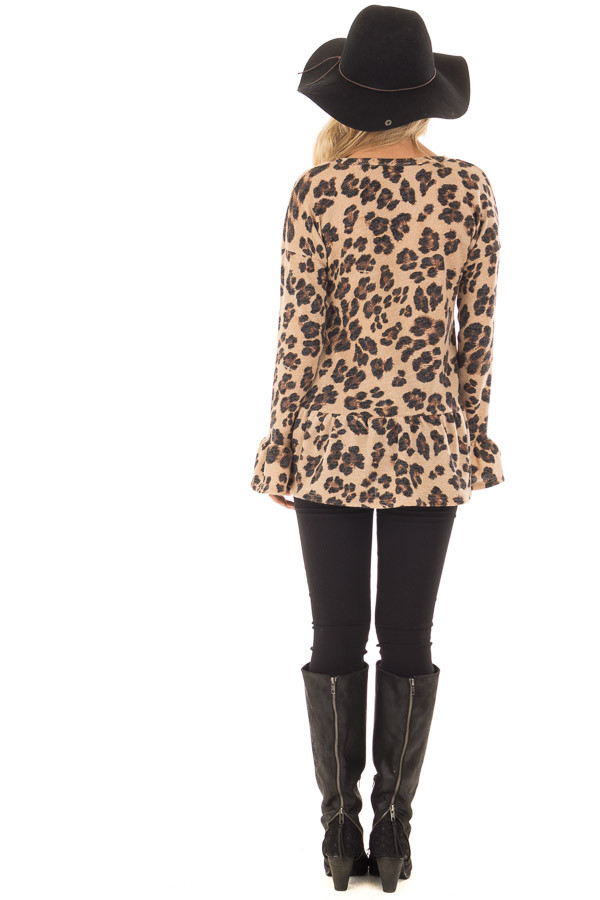 Taupe Leopard Print Bell Sleeve Top with Hip Flare back full body