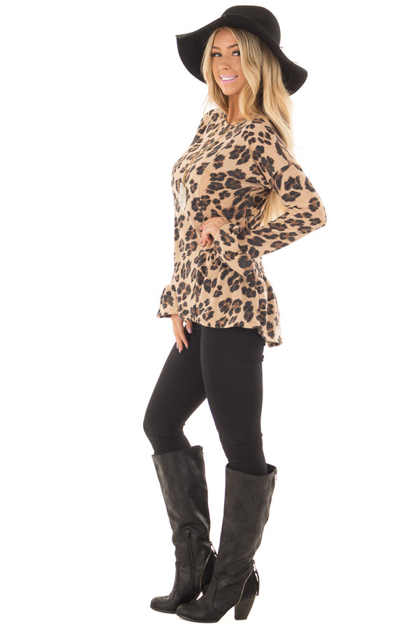 Taupe Leopard Print Bell Sleeve Top with Hip Flare side full body