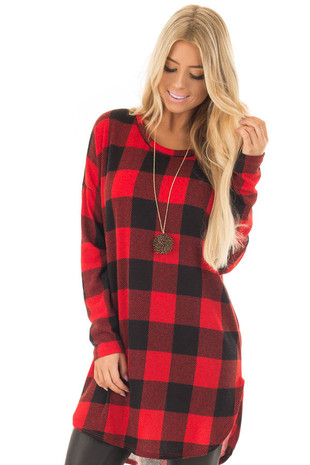 Red and Black Plaid Tunic with Rounded Hemline front close up