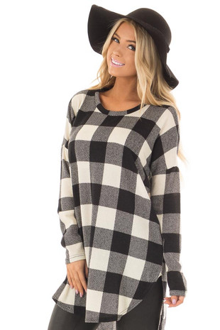 Ivory and Black Plaid Tunic with Rounded Hemline front close up