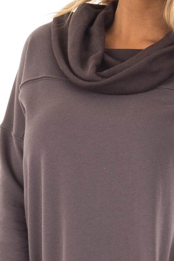 Charcoal Tunic with Ash Grey Contrast Cowl Neck detail
