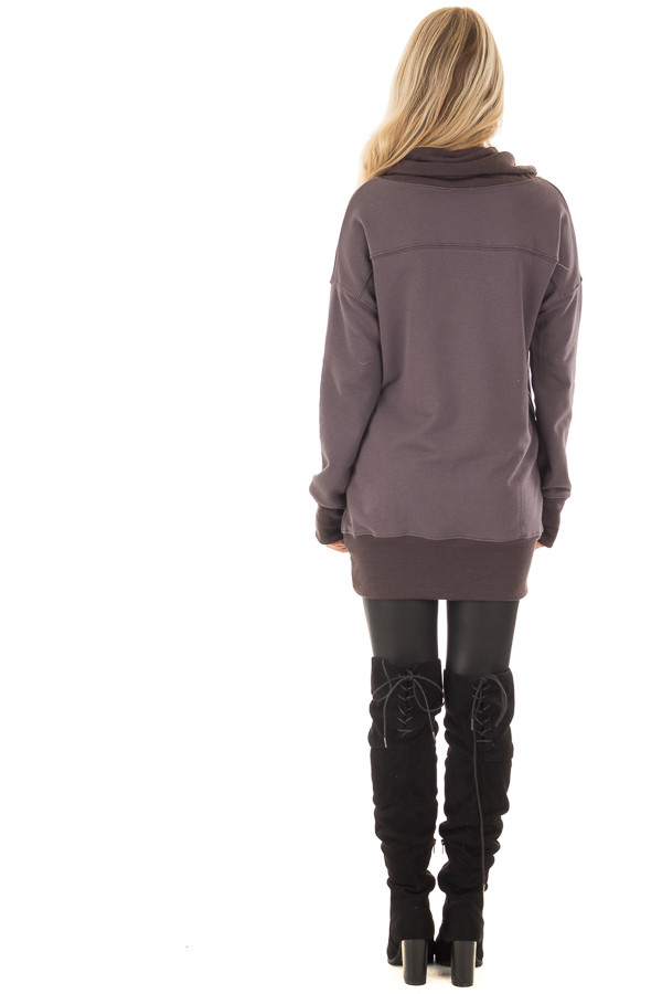 Charcoal Tunic with Ash Grey Contrast Cowl Neck back full body