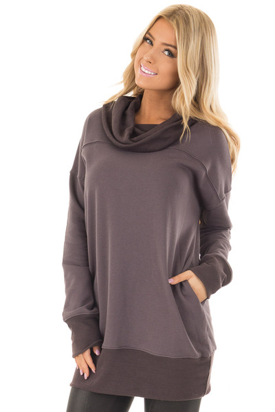 Charcoal Tunic with Ash Grey Contrast Cowl Neck front close up