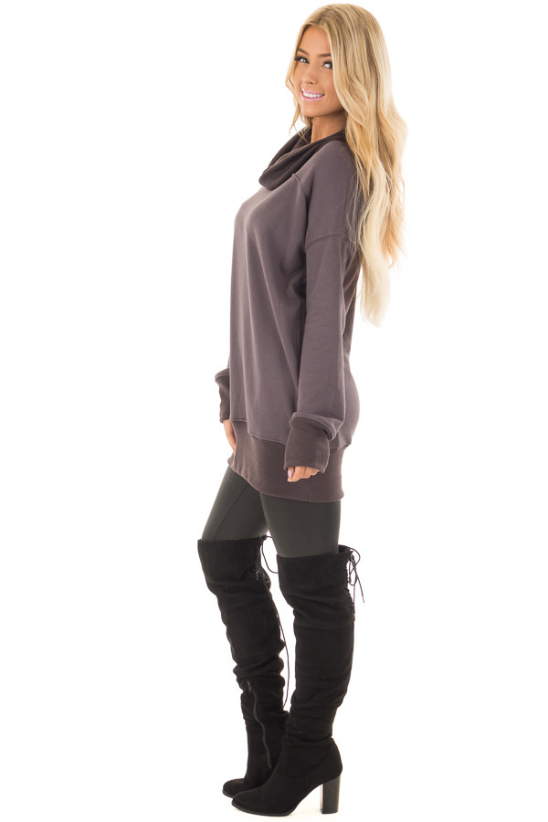 Charcoal Tunic with Ash Grey Contrast Cowl Neck side full body