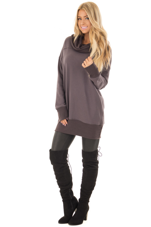 Charcoal Tunic with Ash Grey Contrast Cowl Neck front full body