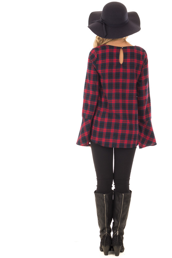 Burgundy and Navy Plaid Bell Sleeve Top with Side Tie back full body