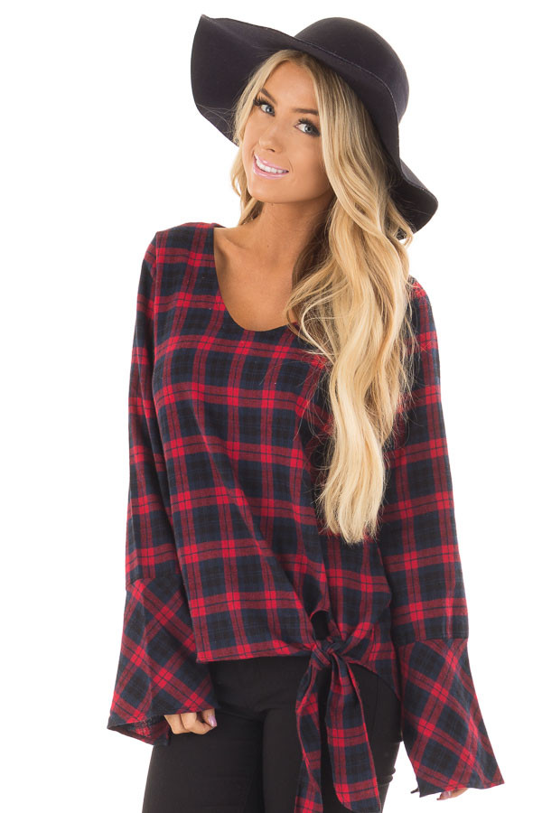 Burgundy and Navy Plaid Bell Sleeve Top with Side Tie front close up