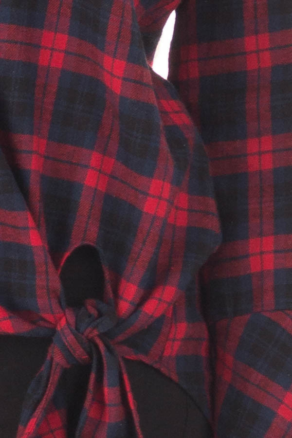 Burgundy and Navy Plaid Bell Sleeve Top with Side Tie detail
