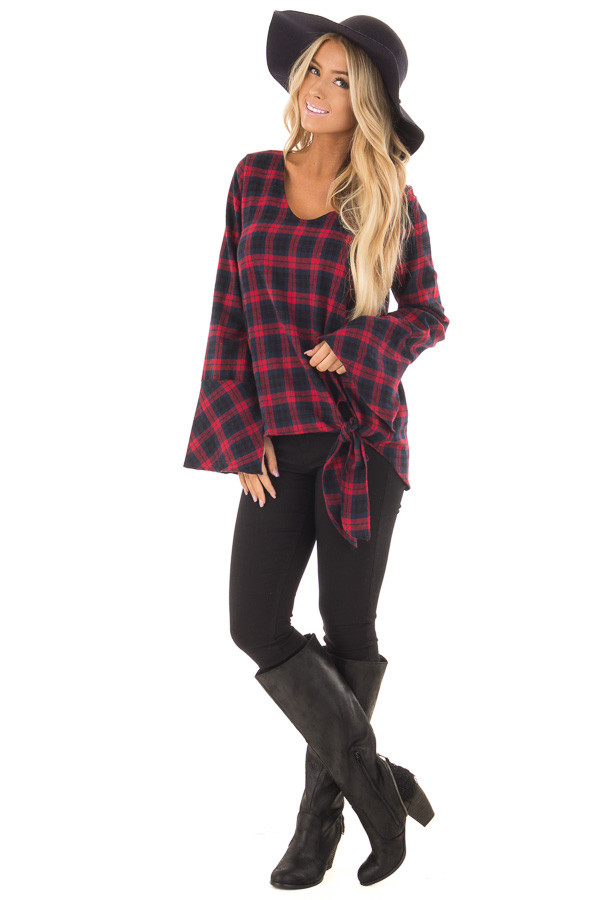 Burgundy and Navy Plaid Bell Sleeve Top with Side Tie front full body