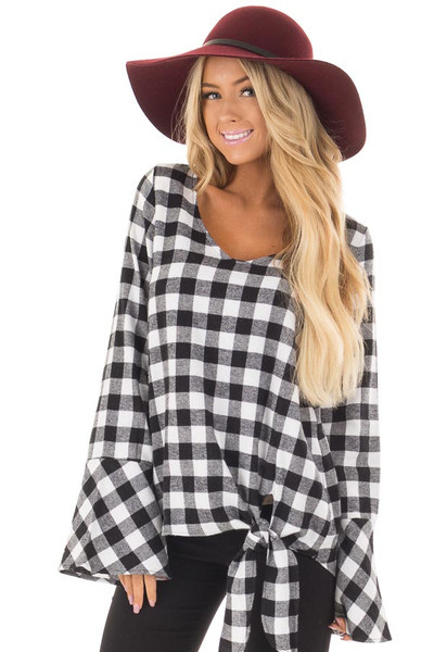 Black and White Plaid Bell Sleeve Top with Side Tie front close up