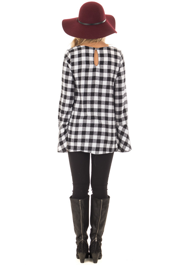 Black and White Plaid Bell Sleeve Top with Side Tie back full body