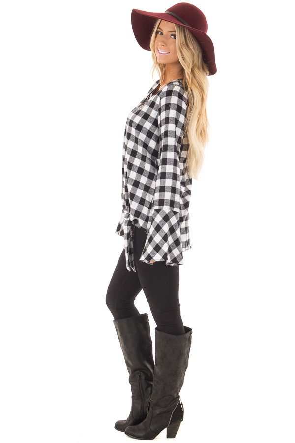 Black and White Plaid Bell Sleeve Top with Side Tie side full body