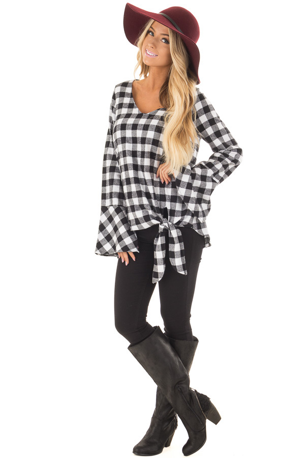 Black and White Plaid Bell Sleeve Top with Side Tie front full body