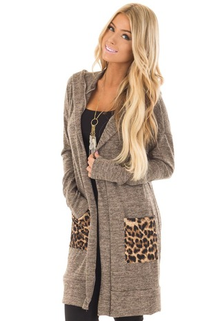 Mocha Open Cardigan with Hood and Leopard Print Pockets front close up
