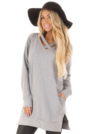 Heather Grey Tunic with Criss Cross Neckline and Side Pockets front close up
