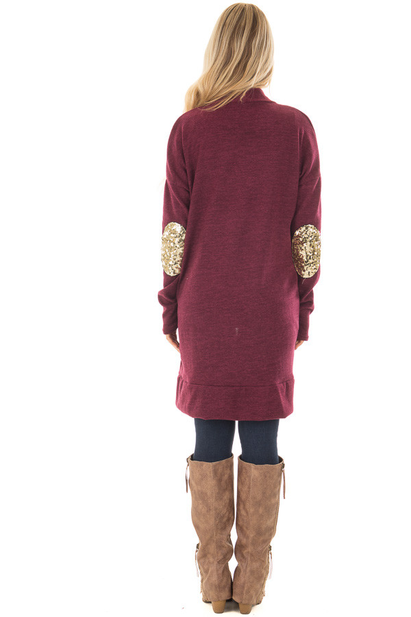 Burgundy Knit Open Cardigan with Gold Sequin Elbow Patches back full body