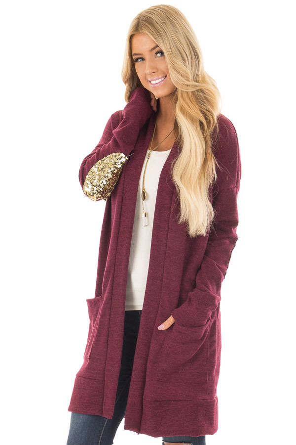 Burgundy Knit Open Cardigan with Gold Sequin Elbow Patches front close up